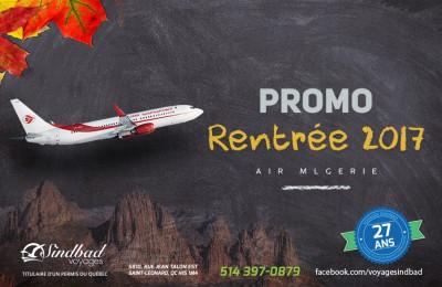 Promo Rentrée 2017 - Air Algérie pour Alger