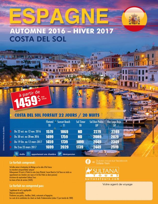 Espagne Costa del sol - Automne 2016 - Hiver 2017